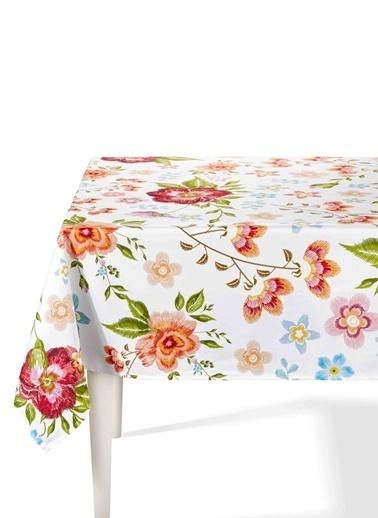 The Mia Floral Masa Örtüsü - 150 x 150 Cm - Beyaz Çiçekli Beyaz